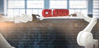 L'image composée des mains robotiques métalliques tenant le nuage textotent sur le fond blanc Photos libres de droits