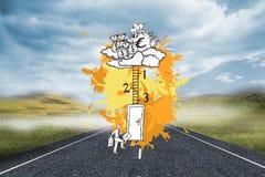 L'image composée du concept de progession de carrière sur la peinture éclabousse Image libre de droits