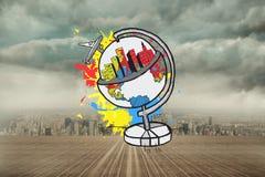 L'image composée du concept global de tourisme sur la peinture éclabousse Photo libre de droits
