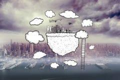 L'image composée du nuage calculant avec le paysage urbain et l'échelle gribouillent Photographie stock