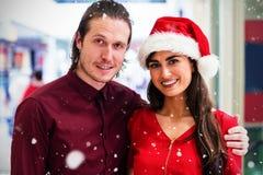 L'image composée du portrait des couples dans Noël attire Photos libres de droits