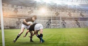 L'image composée du rugby évente dans l'arène et le 3d Photos libres de droits