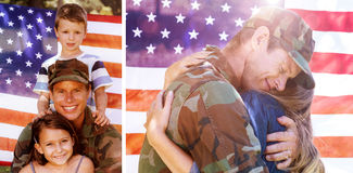 L'image composée du soldat américain a réuni à son associé images libres de droits