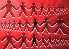 L'image conceptuelle avec des silhouettes des personnes a joint ensemble 2 photographie stock libre de droits