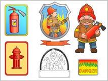 L'image a consacré l'ensemble de sapeur-pompier illustration libre de droits
