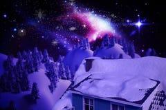 l'image 3D composée de la neige a couvert le toit de la maison Photographie stock libre de droits
