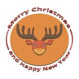 L'image d'un cerf commun Noël et la nouvelle année Images libres de droits