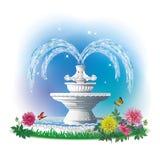 L'image d'une belle fontaine avec des sculptures des pigeons illustration libre de droits
