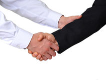 L'image d'une prise de contact beetween deux hommes d'affaires Photo stock