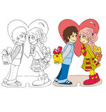 L'image de bande dessinée des couples pour le jour de valentines illustration libre de droits