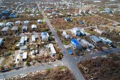 L'image de bourdon des maisons détruites en Floride verrouille l'IRM d'ouragan images stock