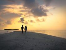 L'image de deux personnes dans l'amour au coucher du soleil Images libres de droits