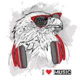 L'image de l'aigle dans les verres et les écouteurs Illustration de vecteur Photo stock