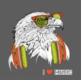 L'image de l'aigle dans les verres et les écouteurs Illustration de vecteur Images libres de droits