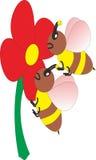 L'image de vecteur des abeilles sucent la quintessence des fleurs Photo libre de droits