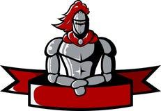 L'image de vecteur du chevalier médiéval de fer tient le ruban Image stock