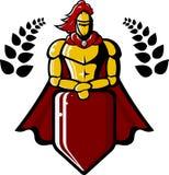 L'image de vecteur du chevalier médiéval tient le bouclier Photographie stock