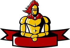 L'image de vecteur du chevalier médiéval tient le ruban Images libres de droits
