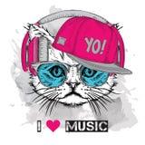 L'image du chat dans les verres, écouteurs et dans le chapeau de hip-hop Illustration de vecteur Image libre de droits