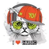 L'image du chat dans les verres, écouteurs et dans le chapeau de hip-hop Illustration de vecteur Images libres de droits
