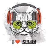 L'image du chat dans les verres et les écouteurs Illustration de vecteur illustration libre de droits