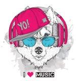 L'image du chien de traîneau dans les verres, écouteurs et dans le chapeau de hip-hop Illustration de vecteur illustration de vecteur