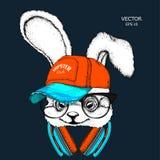 L'image du lapin dans les verres, écouteurs et dans le chapeau de hip-hop Illustration de vecteur Photo libre de droits