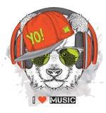 L'image du panda dans les verres, écouteurs et dans le chapeau de hip-hop Illustration de vecteur Photographie stock libre de droits