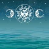 L'image du soleil et de la lune avec les visages humains symboles antiques illustration de vecteur