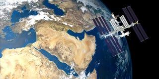 L'image extrêmement détaillée et réaliste de la haute résolution 3D de la terre orbitale de Station Spatiale Internationale d'ISS illustration libre de droits