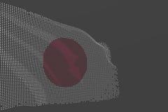 L'image moderne gentille du drapeau d'isolement par Japon fait de points rougeoyants ondulent sur le fond gris - n'importe quelle illustration libre de droits