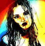 L'image numérique moderne d'art du visage d'une femme, se ferment avec le fond abstrait coloré Photographie stock libre de droits