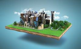 L'image par nature d'un paysage entouré par ville moderne 3d rendent illustration de vecteur