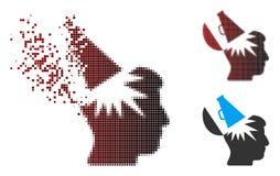 L'image tramée de désintégration de pixel ouvrent Brain Megaphone Icon Images libres de droits