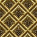 L'image tramée de l'or 3d a couvert de tuiles le modèle sans couture de losange Vecteur pointillé g Image stock