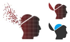 L'image tramée de dissolution de pixel ouvrent Brain Icon Photos stock