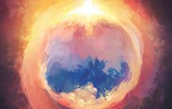 L'imagination Digital Art Painting Artwork avec le beau paysage démontrant la confrontation de l'obscurité et de la lumière dégro illustration libre de droits