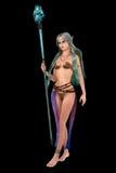 L'imagination elven la femelle avec le personnel magique Image libre de droits