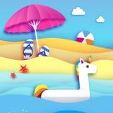 L'imagination gonflable géante Unisorn en papier a coupé le style Parasol de plage - parapluie Jouet de flotteur de piscine d'ori Illustration Stock