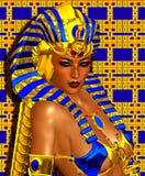 L'imagination numérique d'art de Cléopâtre a placé sur un or et un fond abstrait bleu Photographie stock