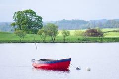 L'imbarcazione a remi nelle bande rosse e blu dell'estate contro il sole ha acceso i campi verdi nella campagna rurale fotografie stock libere da diritti