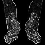 L'immagine in bianco e nero delle mani dal nero e vuole stringere la mano Immagini Stock Libere da Diritti