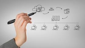 L'immagine composita dei businesswomans passa la scrittura con l'indicatore Immagine Stock