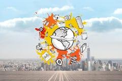 L'immagine composita del concetto del toursim su pittura spruzza Fotografie Stock Libere da Diritti