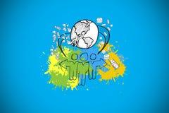 L'immagine composita del concetto globale della comunità su pittura spruzza Immagine Stock Libera da Diritti
