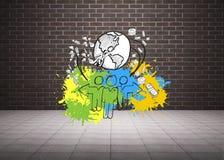 L'immagine composita del concetto globale della comunità su pittura spruzza Immagini Stock Libere da Diritti