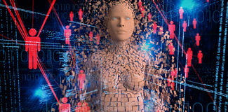 L'immagine composita del primo piano di marrone composito pixelated la donna 3d royalty illustrazione gratis