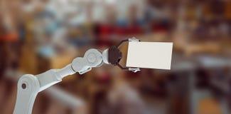 L'immagine composita dell'idraulica arma il cartello 3d della tenuta Fotografie Stock Libere da Diritti
