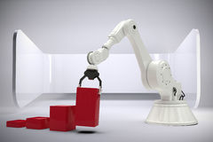 L'immagine composita dell'immagine composita del robot che sistema il giocattolo rosso blocca 3d Fotografia Stock