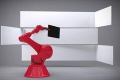 L'immagine composita dell'immagine composita della compressa digitale ha tenuto dalla macchina 3d di rosso Immagine Stock